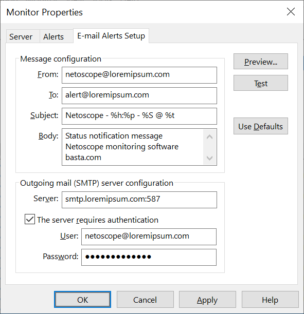 Netoscope e-mail setup monitor properties